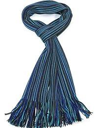 Lovarzi - Bufanda de lana mens a rayas - azul marino, azul y gris - invierno lambswool bufandas para hombres - calidad extra fina rayado bufandas varonil - bufandas suaves y cálidas