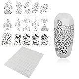 Beauty7- 108 Stücke pro Blatt 3D Blumen Nagelsticker Nagelkunst Nagel Sticker Aufkleber Nagel Tattoos nail sticker nail art Farbe: Silber