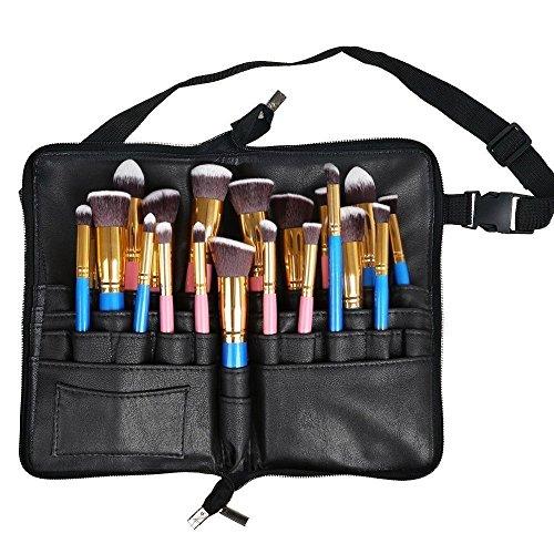travelmall professionnel 27 poches sac cosmétique Pinceau de maquillage beauté Artiste Artiste brosse Organisateur de rangement avec sangle de ceinture noir