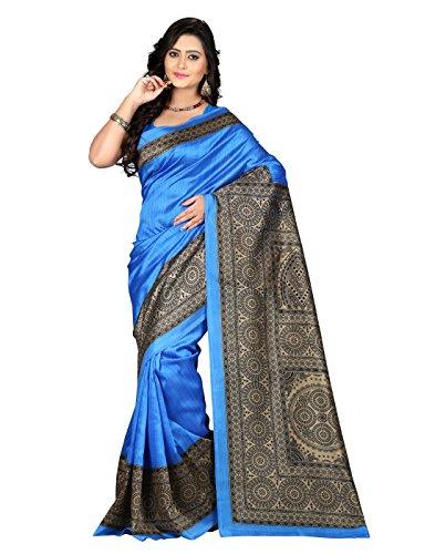 e-VASTRAM Women\'s Art Mysore Printed Silk(NS5B_Blue)