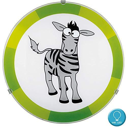 Decken Lampe Kinder Zimmer Beleuchtung Zebra Design Wand Leuchte grün im Set inkl. LED Leuchtmittel (Zebra-zimmer-dekorationen)