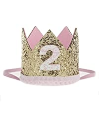 Malloom Bebé Lentejuelas Cumpleaños Sombreros de corona, Diademas de flores elástico (2)