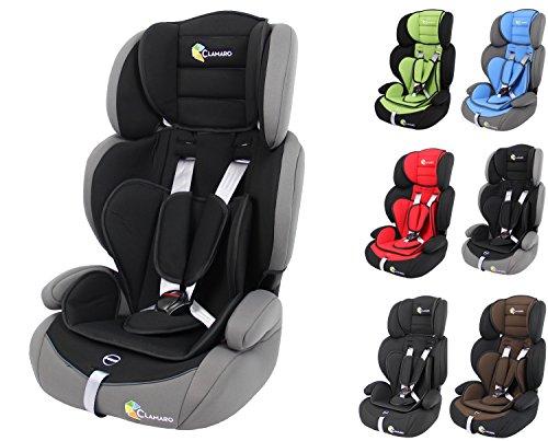 Clamaro 'Guardian 2018' Kinderautositz 9-36 kg verstellbar und mitwachsend, Auto Kindersitz für Kinder von 1-12 Jahre, Gruppe 1/2/3, ECE R44/04, Farbe: Grau Schwarz