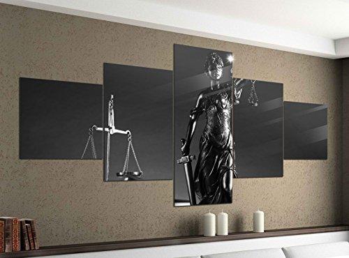 Foto en Lienzo 5 piezas 200cmx100cm ABOGADO Símbolo JUSTITIA Martillo Sala Negro Blanco Imágenes Impresión en Lienzo Imagen Impresa ARTÍSTICA DE VARIAS PARTES madera 9ya1610-5Tlg 200x100cm