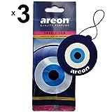 AREON Désodorisant Voiture Bubble Gum Oeil Bleu Mignon Maison Bureau Forme Oriental Nazar Amulette Rétroviseur 2D (Bubblegum Blue Eye Lot de 3)