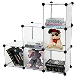 6-Cube DIY Shelf Storage Cabinet By House of Quirk Bookcase Media Storage Standing Plastic Cabinet without Doors - White