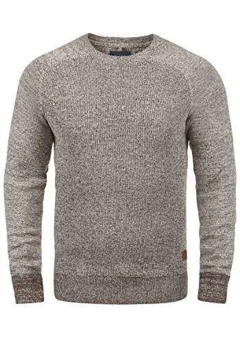 BLEND Gandolf Herren Strickpullover Feinstrick Pulli mit Rundhals-Ausschnitt aus 100% Baumwolle Meliert, Größe:M, Farbe:Coffee Brown (71507)