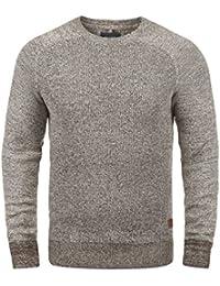 BLEND Gandolf Herren Strickpullover Feinstrick Pulli mit Rundhals-Ausschnitt aus 100% Baumwolle Meliert