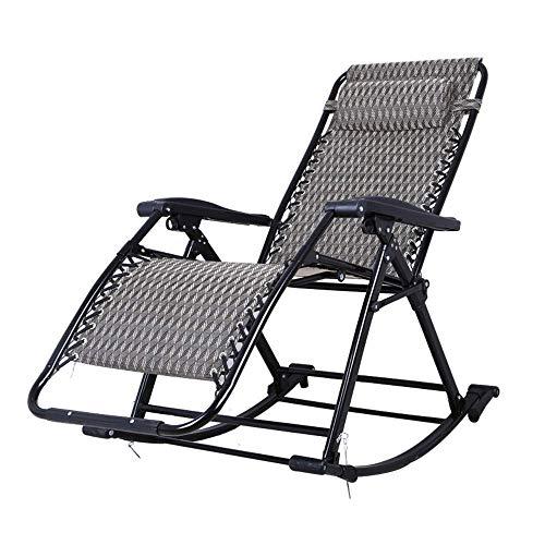 LVLUOYE Fauteuil Relax,Chaise à Bascule, réglable 90-155 ° Retour Shake The Sense of Nature Fold Lounge Chair Adult Easy Chair Jardin extérieur Capacité de Transport: 330lbs (Couleur: A) -B