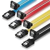 deleyCON SATA Kabel 50cm S-ATA 3 HDD SSD Datenkabel 6 GBit/s - 1x gerade zu 90° - 4 Stück Farbe: Gelb/Rot/Blau/Schwarz