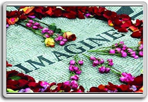 Imagine Strawberry Fields John Lennon Memorial Central Park New York - Motivational Quotes Fridge Magnet - Kühlschrankmagnet (Fields Strawberry Memorial)