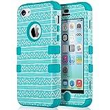 iPhone 5c Hülle, ULAK iPhone 5c Case 3 Layer Hybrid Combo Innere Weiche Silikon Hart Plastik Anti-stoß Schutzhülle Tasche Case Cover für Apple iPhone 5c (Welle-Blau)
