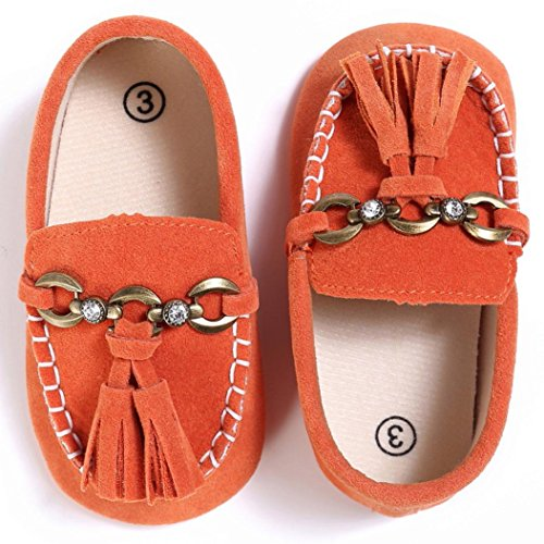 Baby schuhe Jamicy® Baby Kleinkind Niedliche Krippe Schuhe Slip On Comfort Schuhe Loafers Soft Prewalker (12~18 Monate, Schwarz) Orange