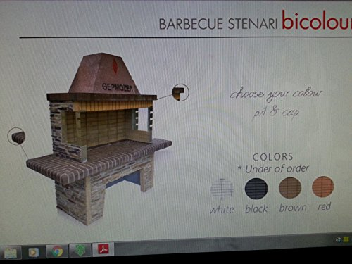 Barbecue in pietra in muratura grande con forno per fuoco a legna