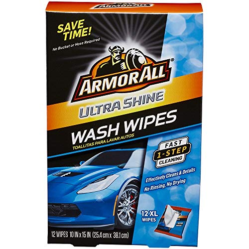 Armor All 18240 Ultra Shine Wash Wipes (12 XL Wipes), 1 Pack