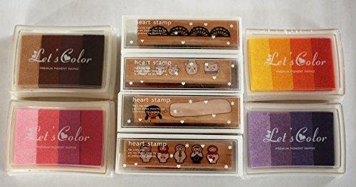 wolga-kreativ Stempel Set 4 Stempel und 4x4 Stempelkissen Stempelfarbe für Schrift Buchstaben Motivstempel Borte
