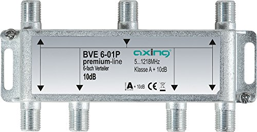 Axing BVE 6-01P 6-fach Verteiler Kabelfernsehen CATV Multimedia DVB-T2 Klasse A+, 10dB, 5-1218 MHz metall