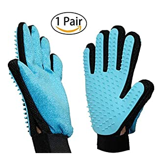 ANFTOP 1 Pair Pet Grooming Gloves for Dog Cat 2-in-1 Pet Hair Remover Mitt Massage Shedding Bathing Glove Brush for Dogs Cats Rabbits Horses
