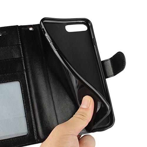"""MOONCASE iPhone 7 Plus Étui, Texture Rétro Zèbre Housse en Cuir à rabat Coque de Protection Folio TPU Case avec Porte-cartes Fentes Fermeture Magnétique pour iPhone 7 Plus 5.5"""" Brun Rose"""