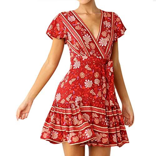 POPLY Damen Boho V-Ausschnitt Sommer Party Abend Strand Langes Kleid Sommerkleid Elegant Jahrgang Floral Drucken Cocktailkleider - Outfit Hippie Womens
