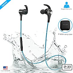 ZAAP AQUA MAGNETO Bluetooth Waterproof Headphone + Free Carry Case, IP-X5 Wireless 4.1 Bluetooth Technology, Magnetic Earbuds, Universal Compatibility Secure Fit for Sports (BLUE)
