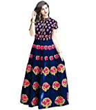 Siddeshwary Fab Women's Satin Bangalore Silk Embroidered Gown ( Blue _ Free Size )