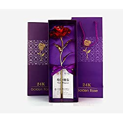 ShopAIS 24K Red Rose with Gift Box and Carry Bag - Best Gift On Valentine's Day, Rose Day. Red Dipped Rose with Gift Box