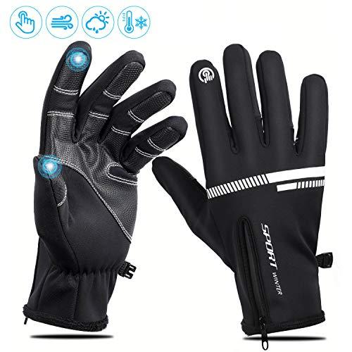 Fahrradhandschuhe Touchscreen Handschuhe, Winter Warme winddichte wasserdichte Handschuhe für Männer Frauen, rutschfeste Outdoor Sport Handschuhe zum Laufen, Reiten, Skifahren, Camping, Klettern