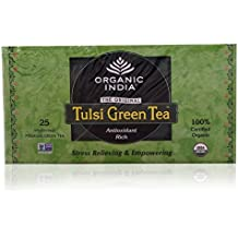 Organic India Tulsi Green Tea, 25 Tea Bags, Pack of 3