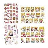 Wovemster Sailor Moon Tatuaggi Set, cons Temporary Kids Tatuaggi Adesivi per Bambini Gioca Omaggi Borse Regalo Compleanno Bambini