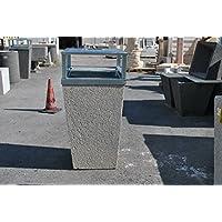 Papelera de hormigón, cestas, con instalación cenizas (Hierro Galvanizado, H10055x 55cm).