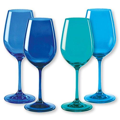 Bruno Evrard Verres à vin en Verre Bleu 35cl - Lot de 4 - KADOR