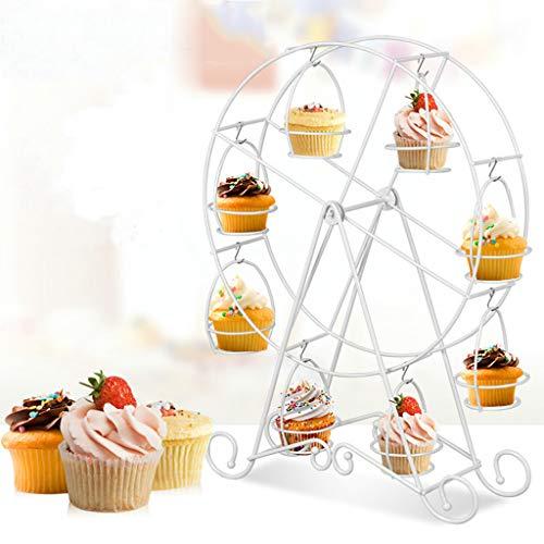 Soporte para cupcakes con diseño de rueda de Ferris – Marco de alambre de metal – Expositor de postre para fiesta de circo, cumpleaños de niños, boda y carnaval, soporte para 8 magdalenas, 17 pulgadas