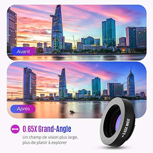 Mpow 3 en 1 Objectif Smartphone Kit de Lentille de Caméra Objectifs Téléphone Fisheye à 180° +0.65X Objectif Grand Qngle +10X Objectif Macro pour iPhone X/8/7/6s/6s Plus, Samsung Huawei, Smartphones