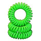 Miya® Scrunchie in Bright Green Plastic Mini Elastic, Telephone Line Cable Wire Spiral Telephone, Set of 3High-quality Hair Scrunchie Bracelet