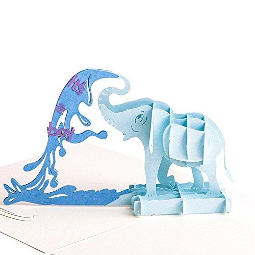 uniqueplus Elefant Bewässerung Baby Dusche Thema Creative 3D Pop up Grußkarte Geschenk Karten für New Born Baby Boy oder Girl Dusche junge