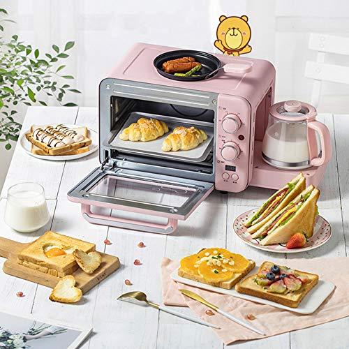 STBD-3-In-1-Aufsatzofen, FrüHstüCksmaschine, Toaster-Kaffeemaschine, HeißE Milch + Gebratener Braten + Auflauf + Hitze, 1.400 W Leistung, 8 L Inhalt, Rosa