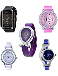 Freny Exim Jewellery Bracelet Style Combo Of 5 Analogue Multicolor Dial Womens Watches For Girls