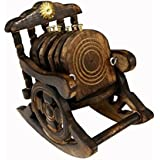 Saarthi Wooden Antique Beautiful Miniature Rocking Chair Design Tea Coffee Coaster Set