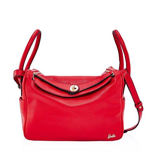 Barbie NEU HERMES hochwertiges PU modische gültige aristokratische Damenhandtasche Umhängetasche OL Style #BBFB461 (Rot) (Zierliche Handtasche)