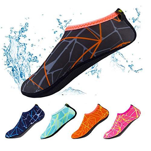 Scarpe a calzino, ad asciugatura rapida, con stampa, antiscivolo, mantengono i piedi caldi, perfette per uso interno ed esterno, sport, spiaggia, giochi, nuoto, surf, Gray Orange, EU:38-39