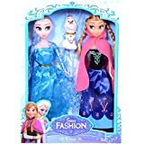 Blue Anna Elsa Sister Doll Toy Girl With Oalf 28 cm