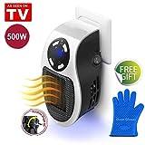 Mini Heater Chauffage pour Prise Murale 500W Espace Chauffe-eau Électrique Air Radiateur Accueil Fourneau, Fonction d'horloge (1−12 heures) (White+Silicone Oven Gloves)...