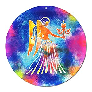 Sternzeichen Jungfrau Nr. 08. Ø 20cm Glasbild Aufhänger Fensterbild bruchsicheres Acrylglas Sonnenfänger Astrologie Blickfang Geschenk Dekoration Fenster Balkon - EINWEG Verpackung -