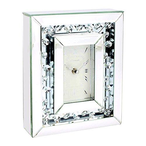 Leonardo Collection Glas Spiegel Uhr, Silber, 25x 18x 15cm - Möbel Uhr