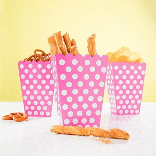Tüte Happy Dots in Pink - wunderschöne Boxen mit Punkten für Snacks, Süßigkeiten & Geschenke - PARTYMARTY GMBH® (Pink Popcorn)