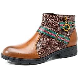 Socofy Invierno Mujer Botas de Nieve Cuero Botines Zapatos de Mujer Mujer Martín Botas Retro Moda Casual Cremallera Lateral Zapatos Boots Ocasional Anti Deslizante Zapatos de Invierno Al Aire Libre