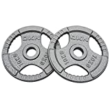 DKN Unisex Tri Grip Cast Iron Olympic Weight Plates, Grey, 20 kg