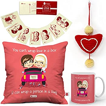 new style 8df79 0b0ea Indigifts Valentines Day Love Quote Cute Couple On A Ride Pink Cushion  Cover 12x12 with Filler, Mug 330 ml, 8 Love Postcards and 1 Heart Hanging -  Gift for ...