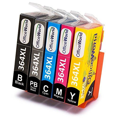 OfficeWorld Ersatz für HP 364 364XL Druckerpatronen (inkl. Foto Schwarz) Hohe Kapazität Kompatibel mit HP Photosmart 7510 7520 C5380 C6380 C309A C310A C410 C410b (Drucker-tinte Hp Photosmart C310)